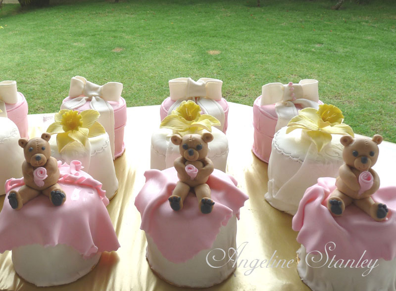 Pink miniature cakes