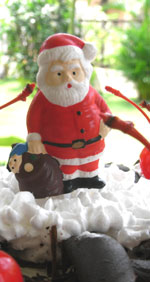 Santa on a German Black Forest Cake