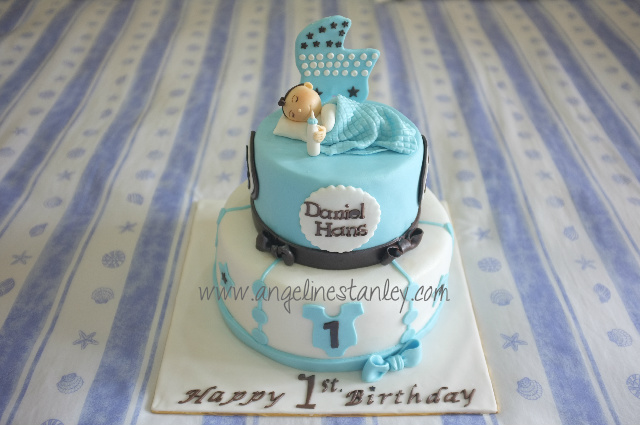 Celebrating Daniel Hans 1st Birthday With 2 Tiers Cakes Babyboy1